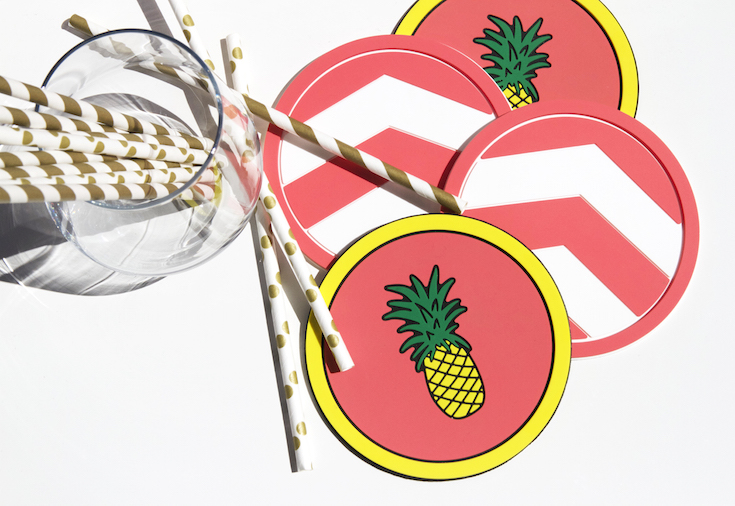 Vessel Coasters_Miami Pineapple and Coral Chevron Coaster_Pinterest